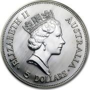 Australia 5 Dollars The Australian Kookaburra 1990 KM# 189 ELIZABETH II AUSTRALIA 5 DOLLARS RDM coin obverse