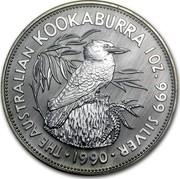 Australia 5 Dollars The Australian Kookaburra 1990 KM# 189 THE AUSTRALIAN KOOKABURRA 1 OZ. 999 SILVER 1990 coin reverse