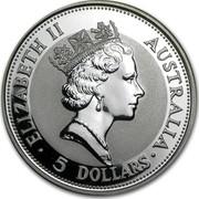 Australia 5 Dollars (The Australian Kookaburra) KM# 138 ELIZABETH II AUSTRALIA 5 DOLLARS RDM coin obverse