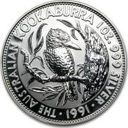 Australia 5 Dollars (The Australian Kookaburra) KM# 138 THE AUSTRALIAN KOOKABURRA 1 OZ. 999 SILVER *YEAR* coin reverse