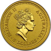 Australia 5 Dollars The Australian Nugget 1990 KM# 117 ELIZABETH II AUSTRALIA 5 DOLLARS RDM coin obverse