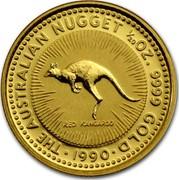 Australia 5 Dollars The Australian Nugget 1990 KM# 117 THE AUSTRALIAN NUGGET 1/20 OZ. 9999 GOLD RED KANGAROO *YEAR* coin reverse