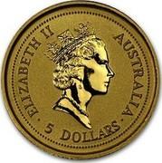 Australia 5 Dollars The Australian Nugget 1995 KM# 241 ELIZABETH II AUSTRALIA 5 DOLLARS RDM coin obverse