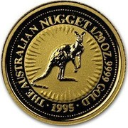 Australia 5 Dollars The Australian Nugget 1995 KM# 241 THE AUSTRALIAN NUGGET 1/20 OZ. 9999 GOLD *YEAR* P coin reverse