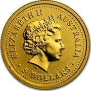 Australia 5 Dollars The Australian Nugget 2000 KM# 464 ELIZABETH II AUSTRALIA 5 DOLLARS IRB coin obverse