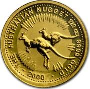 Australia 5 Dollars The Australian Nugget 2000 KM# 464 THE AUSTRALIAN NUGGET 1/20 OZ. 9999 GOLD *YEAR* coin reverse