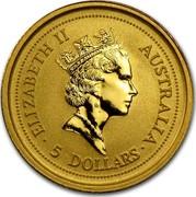 Australia 5 Dollars Whiptail Wallaby 1994 KM# 233 ELIZABETH II AUSTRALIA 5 DOLLARS coin obverse