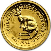 Australia 5 Dollars Whiptail Wallaby 1994 KM# 233 AUSTRALIAN NUGGET 1/20 OZ 9999 GOLD 1994 coin reverse