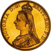 Australia 5 Pounds Victoria Golden Jubilee 1887 KM# 11 VICTORIA D:G: BRITT: REG: F:D: J.E.B. coin obverse