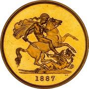Australia 5 Pounds Victoria Golden Jubilee 1887 KM# 11 S B.P. 1887 coin reverse
