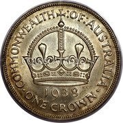 Australia 5 Shillings (1 Crown) Coronation of King George VI 1938 KM# 34 COMMONWEALTH :OF:AUSTRALIA 1938 · ONE CROWN · coin reverse