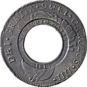 Australia 5 Shillings (1 Crown) Holey Dollar 1813 KM# 2.1 CAROIUS III DEI GRATIA 1786 FIVE SHILLINGS coin obverse