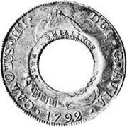 Australia 5 Shillings (1 Crown) Holey Dollar 1813 KM# 2.3 CAROLUS IIII DEI GRATIA 1792 FIVE SHILLINGS coin obverse