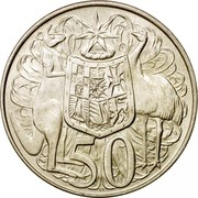 Australia 50 Cents Coat of Arms 1966 KM# 67 50 SD coin reverse