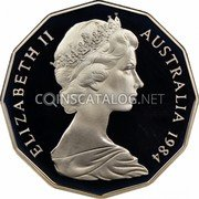 Australia 50 Cents Coat of Arms 1984 Proof KM# 68 ELIZABETH II AUSTRALIA *YEAR* coin obverse