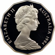 Australia 50 Cents Coat of Arms 1984 Proof KM# 68 ELIZABETH II AUSTRALIA *YEAR* coin obverse
