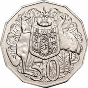 Australia 50 Cents (Coat of Arms) KM# 404 50 SD coin reverse
