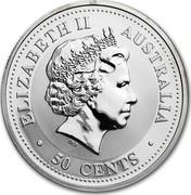 Australia 50 Cents Lunar Dragon 2000 KM# 522 ELIZABETH II AUSTRALIA 50 CENTS IRB coin obverse