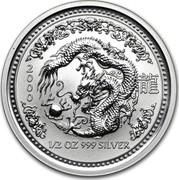 Australia 50 Cents Lunar Dragon 2000 KM# 522 2000 1/2 OZ 999 SILVER coin reverse
