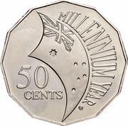 Australia 50 Cents (Millennium) KM# 488.1 MILLENNIUM YEAR 50 CENTS coin reverse