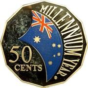 Australia 50 Cents Millennium (Colorized) 2000 KM# 488.2 MILLENNIUM 50 CENTS coin reverse