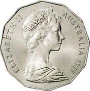 Australia 50 Cents Silver Jubilee 1977 KM# 70 ELIZABETH II AUSTRALIA 1977 coin obverse