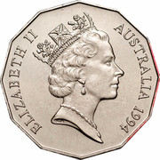 Australia 50 Cents (Year of the Family) KM# 257 ELIZABETH II AUSTRALIA 1994 RDM coin obverse