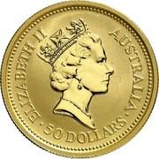 Australia 50 Dollars Nail-tailed Wallaby 1992 (ae) Proof KM# 392 ELIZABETH II AUSTRALIA • 50 DOLLARS • RDM coin obverse