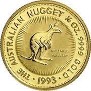 Australia 50 Dollars Nail-tailed Wallaby 1992 (ae) Proof KM# 392 THE AUSTRALIAN NUGGET 1/2 OZ. 9999 GOLD • 1993 • NAILTAILED WALLABY coin reverse