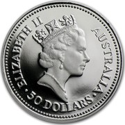 Australia 50 Dollars The Australian Koala 1988 KM# 110 ELIZABETH II AUSTRALIA 50 DOLLARS RDM coin obverse