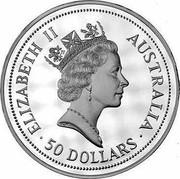 Australia 50 Dollars The Australian Kookaburra 1991 KM# 162 ELIZABETH II AUSTRALIA 50 DOLLARS RDM coin obverse