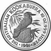 Australia 50 Dollars The Australian Kookaburra 1991 KM# 162 THE AUSTRALIAN KOOKABURRA 10 OZ. 999 SILVER 1991 P coin reverse