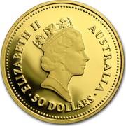 Australia 50 Dollars The Australian Nugget 1986 KM# 91 ELIZABETH II AUSTRALIA 50 DOLLARS RDM coin obverse