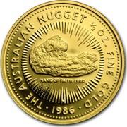 Australia 50 Dollars The Australian Nugget 1986 KM# 91 THE AUSTRALIAN NUGGET 1/2 OZ. FINE GOLD HAND OF FAITH 1980 P SD *YEAR* coin reverse