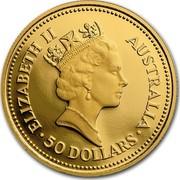 Australia 50 Dollars The Australian Nugget 1987 KM# 97 ELIZABETH II AUSTRALIA 50 DOLLARS RDM coin obverse