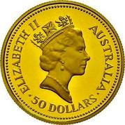 Australia 50 Dollars The Australian Nugget 1988 KM# 106 ELIZABETH II AUSTRALIA 50 DOLLARS RDM coin obverse