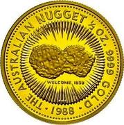 Australia 50 Dollars The Australian Nugget 1988 KM# 106 THE AUSTRALIAN NUGGET 1/2 OZ. FINE GOLD WELCOME 1858 P200 1988 coin reverse