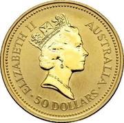 Australia 50 Dollars The Australian Nugget 1989 KM# 120 ELIZABETH II AUSTRALIA 50 DOLLARS RDM coin obverse