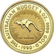 Australia 50 Dollars The Australian Nugget 1989 KM# 120 THE AUSTRALIAN NUGGET 1/2 OZ. 9999 GOLD RED KANGAROO *YEAR* coin reverse