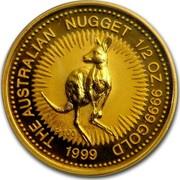 Australia 50 Dollars The Australian Nugget 1999 KM# 451 THE AUSTRALIAN NUGGET 1/2 OZ. 9999 GOLD *YEAR* P100 coin reverse