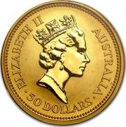 Australia 50 Dollars (The Australian Nugget) KM# 236 ELIZABETH II AUSTRALIA 50 DOLLARS RDM coin obverse