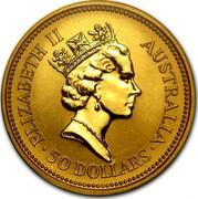 Australia 50 Dollars (The Australian Nugget) KM# 168 ELIZABETH II AUSTRALIA 50 DOLLARS RDM coin obverse