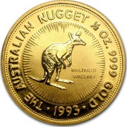 Australia 50 Dollars (The Australian Nugget) KM# 236 THE AUSTRALIAN NUGGET 1/2 OZ. 9999 GOLD NAILTAILED WALLABY *YEAR* coin reverse