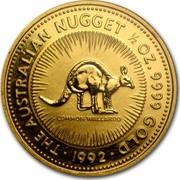 Australia 50 Dollars (The Australian Nugget) KM# 168 THE AUSTRALIAN NUGGET 1/2 OZ. 9999 GOLD COMMON WALLAROO *YEAR* coin reverse