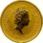 Australia 50 Dollars Two kangaroos 1996 KM# 275.1 ELIZABETH II AUSTRALIA • 50 DOLLARS • RDM coin obverse