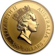 Australia 500 Dollars The Australian Kangaroo 1991 KM# 150 ELIZABETH II AUSTRALIA 500 DOLLARS RDM coin obverse