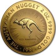 Australia 500 Dollars The Australian Kangaroo 1991 KM# 150 THE AUSTRALIAN NUGGET 2 OZ. 9999 GOLD *YEAR* RED KANGAROO coin reverse