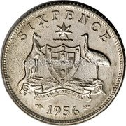 Australia 6 Pence Coat of Arms 1955 (m) KM# 58 SIXPENCE ADVANCE AUSTRALIA *YEAR* coin reverse