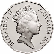 Australia Fifty Cents (1788 - 1988 Bicentenary of Australia) KM# 99a ELIZABETH II AUSTRALIA 1989 RDM coin obverse