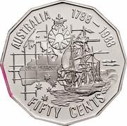 Australia Fifty Cents (1788 - 1988 Bicentenary of Australia) KM# 99a AUSTRALIA 1788 - 1988 FIFTY CENTS NEW HOLLAND W E S coin reverse